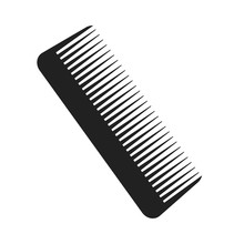 Brush For Hair Black Icon On W...