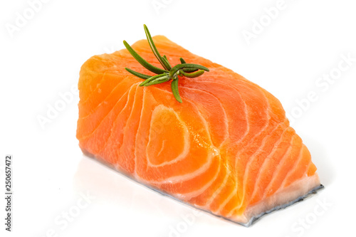 Poster Vis Fillet of salmon isolated on white background