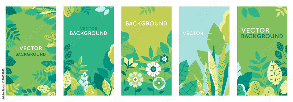 Fototapety, obrazy: Vector set of abstract backgrounds with copy space for text - bright vibrant banners, posters, cover design templates, social media stories wallpapers with spring leaves and flowers