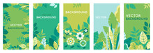 Vector Set Of Abstract Backgrounds With Copy Space For Text - Bright Vibrant Banners, Posters, Cover Design Templates, Social Media Stories Wallpapers With Spring Leaves And Flowers