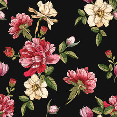 Panel Szklany Peonie Floral seamless pattern with watercolor narcissus and peonies
