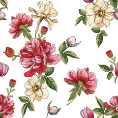 Panel Szklany Podświetlane Peonie Floral seamless pattern with watercolor narcissus and peonies