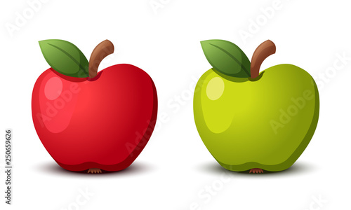 Fotografie, Obraz  Apple red and green. Vector