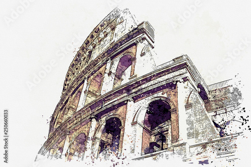 Photo  Watercolor sketch or illustration of a beautiful view of the Colosseum in Rome i