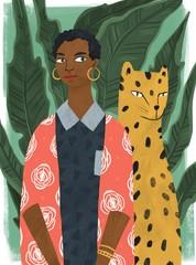 Fototapeta Zwierzęta Beautiful stylish black woman with leopard and big leaves on background. Hand drawn colorful illustration