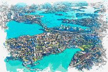 Watercolor Sketch Or Illustration Of A Beautiful Aerial View Of Sydney In Australia. City Landscape