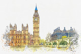 Fototapeta Londyn - Watercolor sketch or illustration of a beautiful view of the Big Ben and the Houses of Parliament in London in the UK