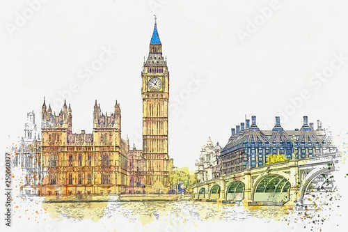 Foto Watercolor sketch or illustration of a beautiful view of the Big Ben and the Hou