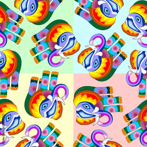 Spoed Foto op Canvas Draw Elephant Patchwork Multicolor Naif Style Seamless Pattern Vector Design
