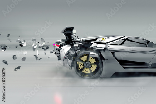 Samochód sportowy rozpada się (rendering 3D)