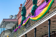 canvas print picture - Balconies of New Orleans, decorated on Mardi Gras event, Louisiana