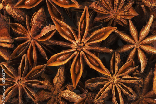 Extremely close up on a pile of anise stars. Shallow focus. Wallpaper Mural