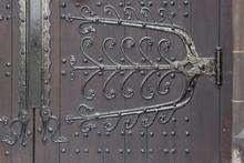 Wooden Door At Church Entrance.