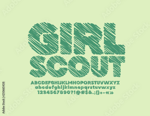 Vector sketched emblem Girl Scout with Green Chalk Font  Hand Drawn