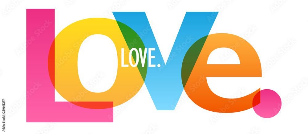 Fototapeta LOVE. colorful typography banner