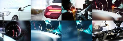 KFZ Service / COLLAGE // OIL SERVICE // Headlights // Mechanic - 250669858