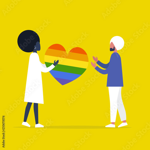 Lgbtq One Young Character Sending A Big Rainbow Heart To Another Relationships Love Romance Emotions Interracial Couple Flat Editable Vector Illustration Clip Art Buy This Stock Vector And Explore Similar Vectors
