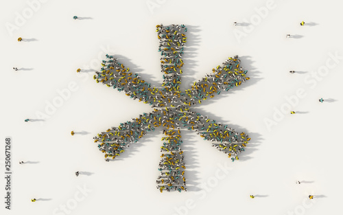Large group of people forming asterisk symbol in social media and community concept on white background Canvas Print
