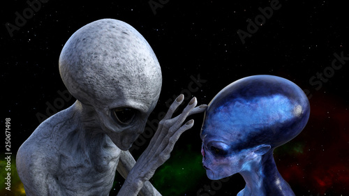 Illustration of a gray alien touching the forehead of a blue extraterrestrial in space with a red and green nebula in the background.