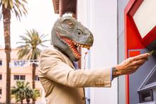 Senior Man Wearing T-rex Dinos...