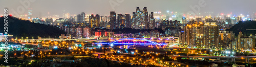 Foto auf Gartenposter Hongkong New Taipei City night skyline. Taiwan