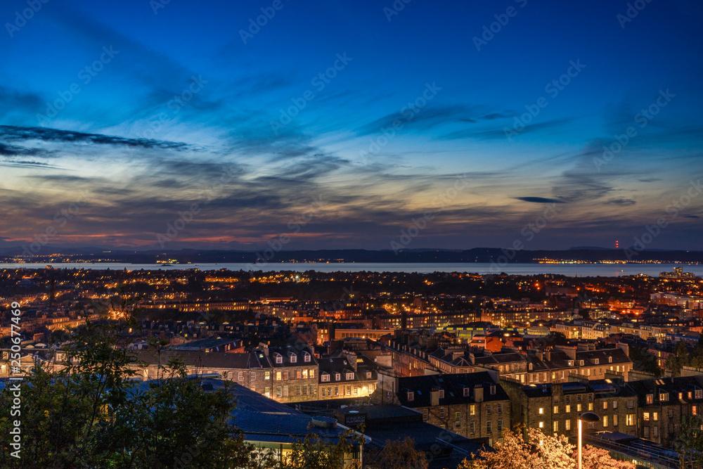 Fototapety, obrazy: sunset Edinburgh cityview