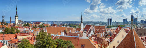Crédence de cuisine en verre imprimé Con. Antique Panoramic view of Tallinn, Estonia