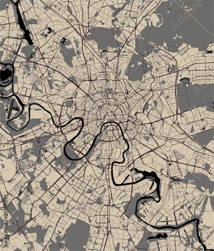 Photo Stands Rotterdam map of the city of Moscow, Russia
