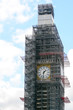 Big Ben in central London with scaffold during cleaning and refurb work