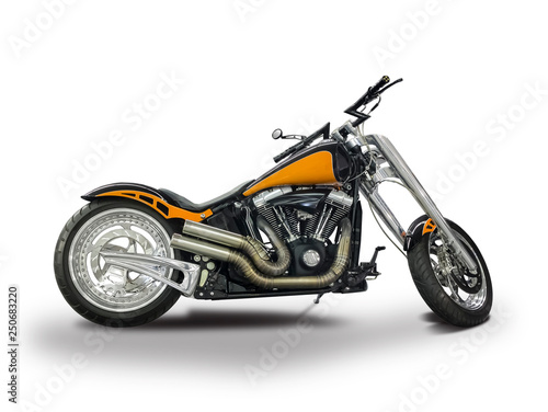 Custom motorcycle isolated on white Wall mural