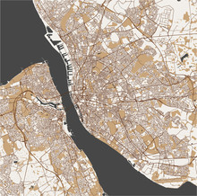 Map Of The City Of Liverpool, United Kingdom