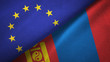 European Union and Mongolia two flags textile cloth, fabric texture