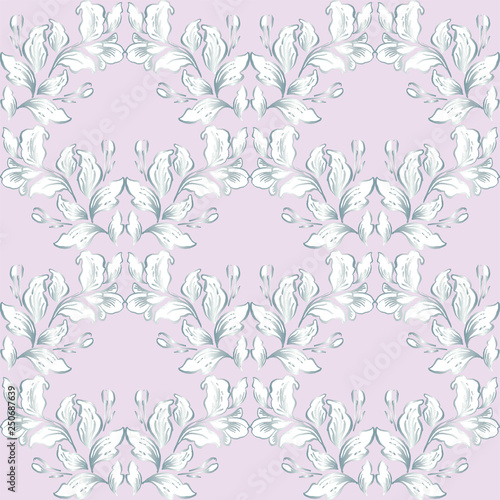 Photo Vintage baroque pattern seamless vector in classic flower graphic style background for backdrop, template, cover page design, fabric,textile