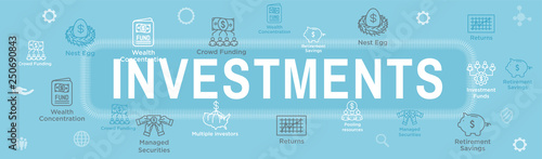 Retirement Investments, Dividend Income, Mutual Fund, IRA Icon set Web Header Ba Canvas Print