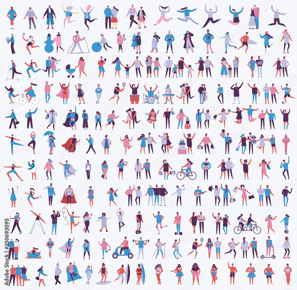Fototapety, obrazy: Vector illustration in a flat style of different activities people jumping, dancing, walking, couple in love, doing sport in flat style