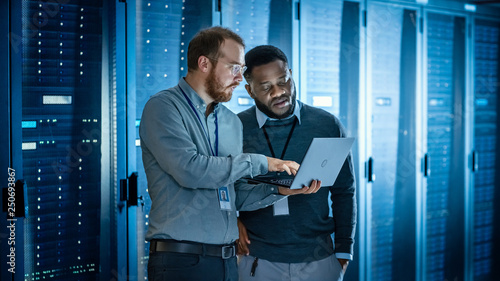 Tela Bearded IT Technician in Glasses with Laptop Computer and Black Male Engineer Colleague are Using Laptop in Data Center while Working Next to Server Racks