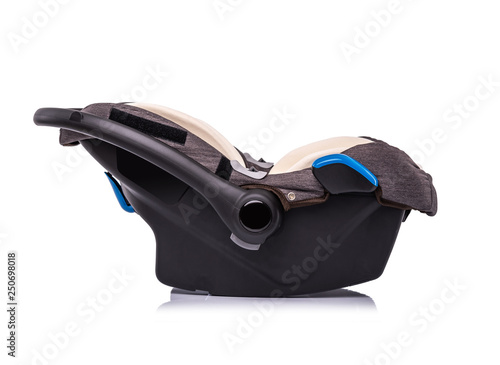 Tablou Canvas Baby car seat isolated on white background