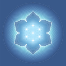 """Fantastic Sacred Geometry; Modern Modified Shiny Ancient Symbol """"flower Of Life"""" And Lotus On Blue Background; Psychedelic Vector Illustration."""