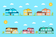 Neighborhood With Homes Illustrated On The Blue Background. Vector Flat Icon Suburban American Houses Day. For Web Design And Application Interface, Also Useful For Infographics. Vector.