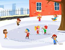Cute Children Playing. Winter Child's Outdoor Activities