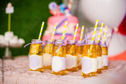 Birthday party concept, candy bar for children  A lot of