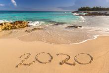 Year 2020 At Caribbean Sea Beach In Mexico
