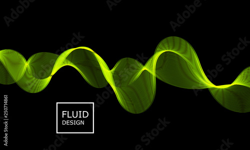 Photo  Flow shapes design. Abstract 3d green light.