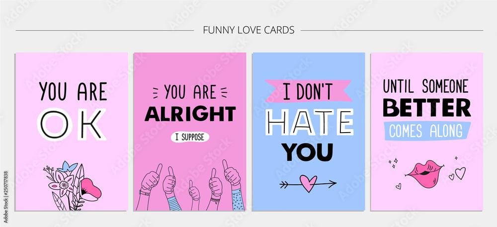 Fajny Zestaw Kart Miłosnych Sarkastyczne Cytaty Ręcznie
