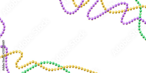 Mardi Gras decorative background with colorful traditional beads on white, vecto Wallpaper Mural