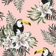 Toucans, Palm Leaves, White Lily Flowers Background. Vector Floral Seamless Pattern. Tropical Illustration. Exotic Plants, Birds. Summer Beach Design. Paradise Nature