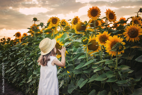 In de dag Zonnebloem child in the field of sunflowers is a small farmer. selective focus.