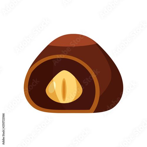 Fotografie, Obraz  Chocolate covered bonbon candy stuffed nougat, mousse, cream