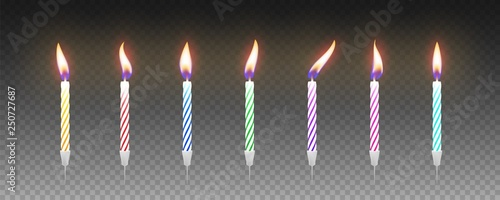 Set of colorful birthday cake candles with burning flames. Vector Canvas