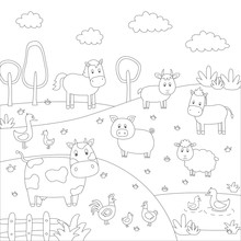 Cartoon Vector Illustration Of Farm Animals Group For Coloring Book.